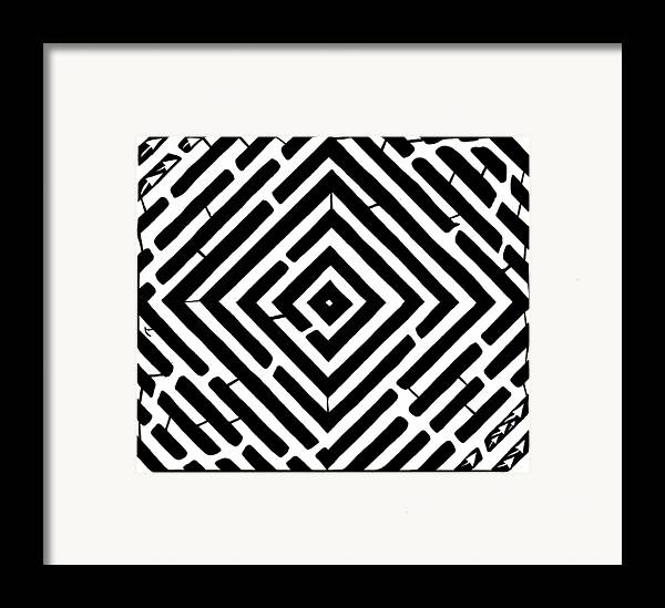 Optical Illusion Framed Print featuring the drawing Diamond Shaped Optical Illusion Maze by Yonatan Frimer Maze Artist