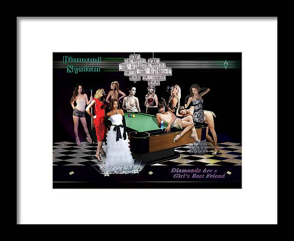 Pool Framed Print featuring the digital art Diamond System by Draw Shots