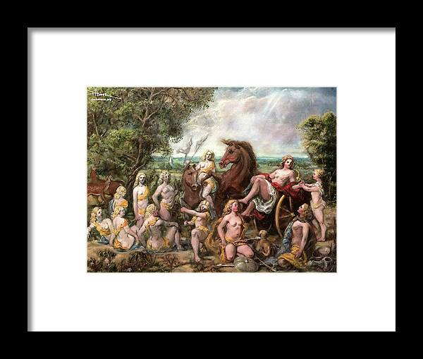 Framed Print featuring the painting Diana And Entourage by Dan Hammer