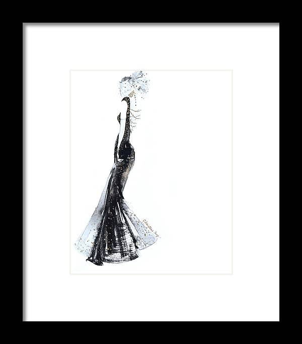 Fashion Illustration Framed Print featuring the painting Diana No.2 by Christine Song