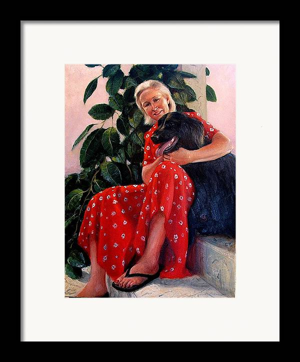 Realism Framed Print featuring the painting Diane And Cinder by Donelli DiMaria