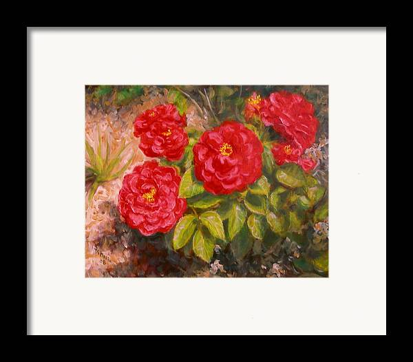 Realism Framed Print featuring the painting Diane's Roses by Donelli DiMaria