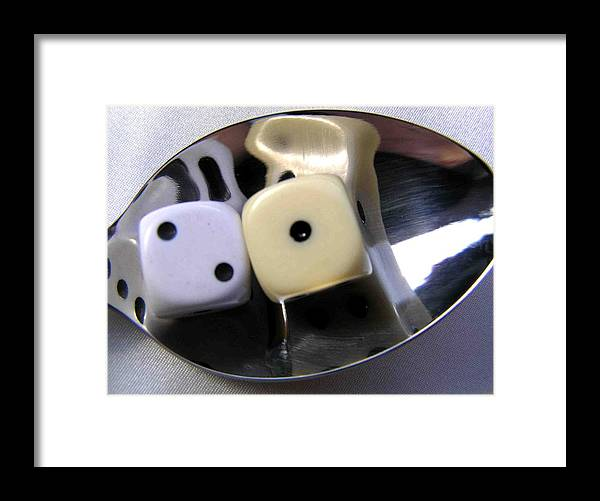 Dice Framed Print featuring the photograph Dice In A Spoon by Evguenia Men
