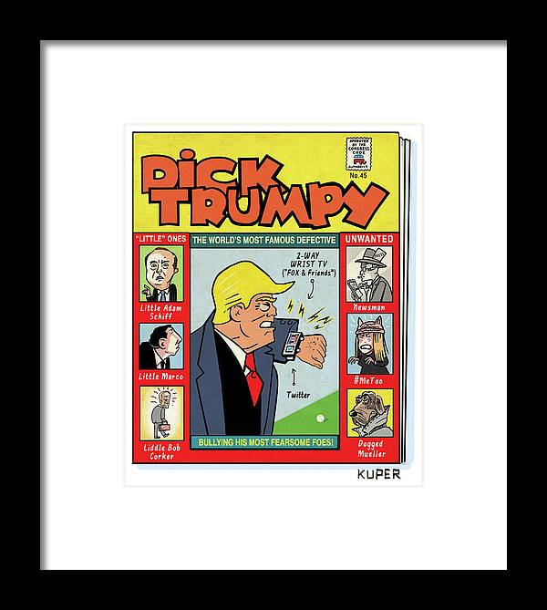 The Misadventures Of Dick Trumpy Framed Print featuring the drawing Dick Trumpy by Peter Kuper