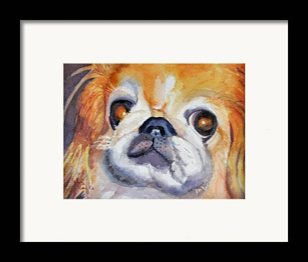 Pet Portrait Framed Print featuring the painting Dickens by Libby Cagle