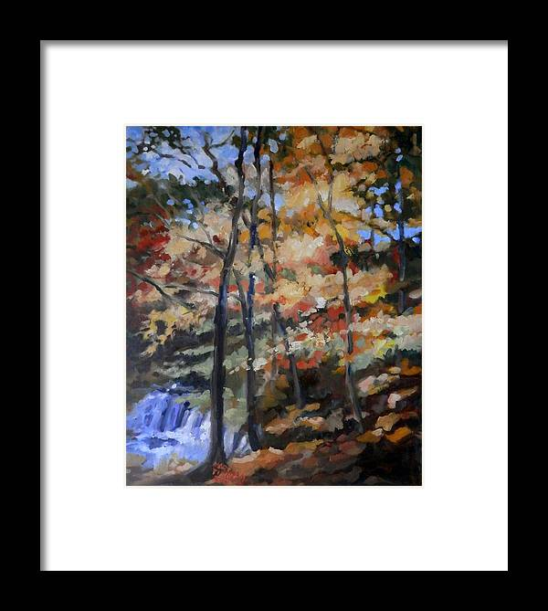 Landscape Framed Print featuring the painting Dick's Creek Falls by Martha Tisdale