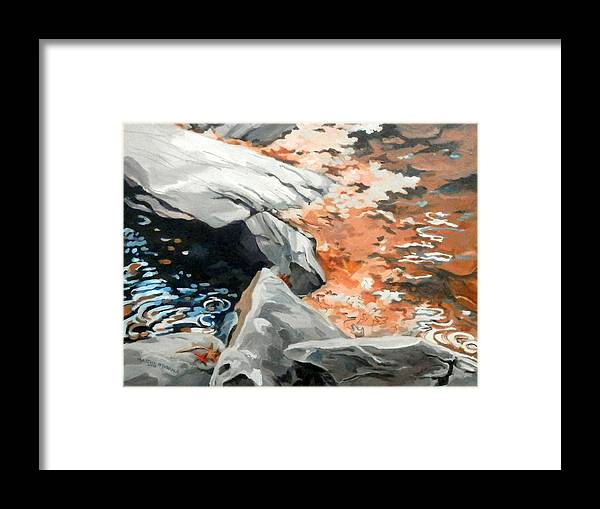 Landscape Framed Print featuring the painting Dick's Creek Leaf Jam by Martha Tisdale