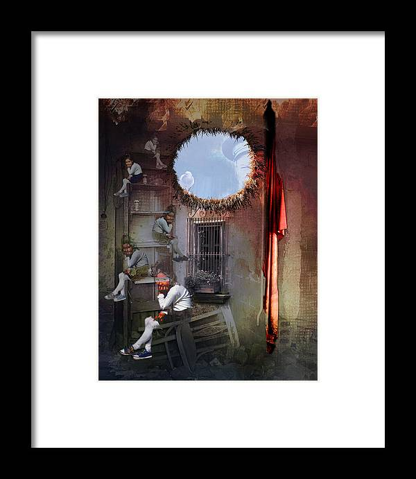 Surrealism Framed Print featuring the digital art Dictator's Toys by Aniko Hencz
