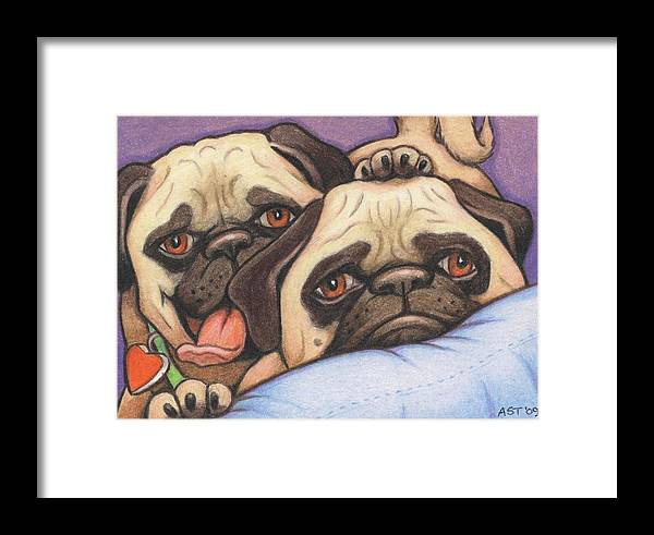 Dog Framed Print featuring the drawing Did Someone Say Cookie by Amy S Turner