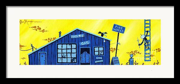 Gas Station Framed Print featuring the painting Did You See That by Dan Keough