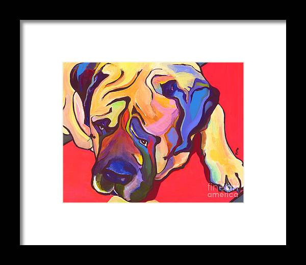 Mastiff Framed Print featuring the painting Diesel  by Pat Saunders-White