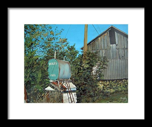 Barn Framed Print featuring the painting Diesel Fuel by William Brody