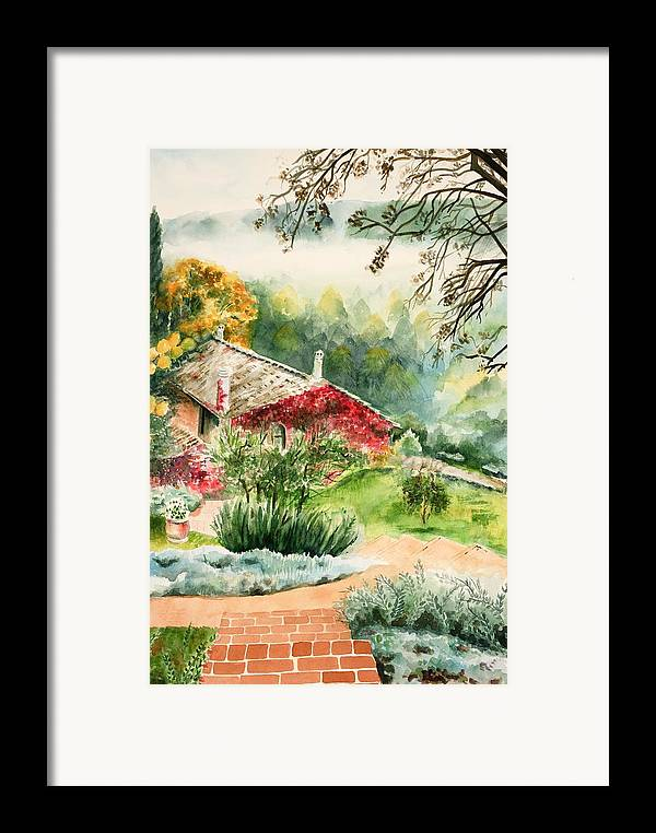 View Of Pathway To Red Cottage And Mountains In Mist Framed Print featuring the painting Dievole Vineyard In Tuscany by Judy Swerlick