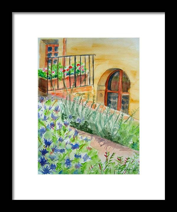 Flowers Surrounding Apartment On Vineyard Framed Print featuring the painting Dievole Vineyard by Judy Swerlick