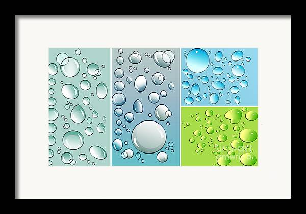 Abstract Framed Print featuring the digital art Different Size Droplets On Colored Surface by Sandra Cunningham