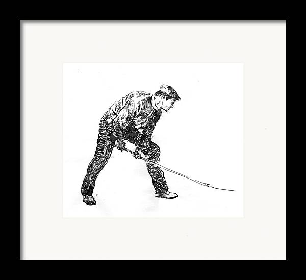 Figurative Framed Print featuring the drawing Digging. by Jose Carvalhosa