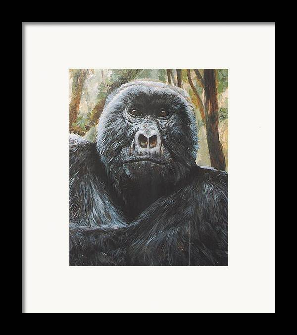 Gorilla Framed Print featuring the painting Digit by Steve Greco