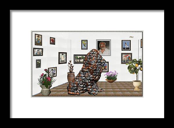 Modern Painting Framed Print featuring the mixed media digital exhibition _Modern Statue of scrap by Pemaro