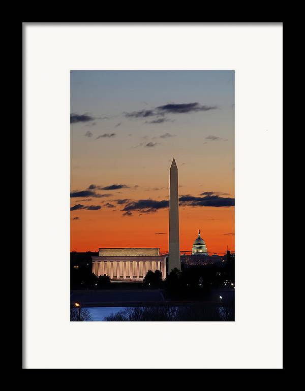 Metro Framed Print featuring the digital art Digital Liquid - Monuments At Sunrise by Metro DC Photography
