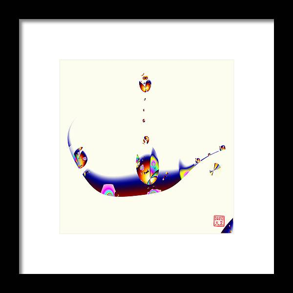 Abstract Framed Print featuring the digital art Digital Picasso - Cat In A Boat by David Jenkins