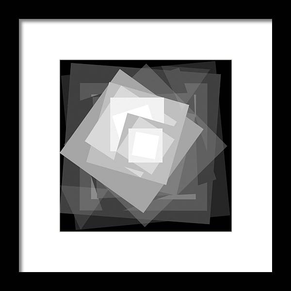 Black Framed Print featuring the drawing Digital Rose. Black And White by Ewelina Karbownik