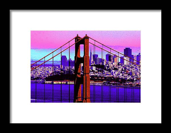 Bay Framed Print featuring the photograph Digital Sunset - Ggb by Lou Ford