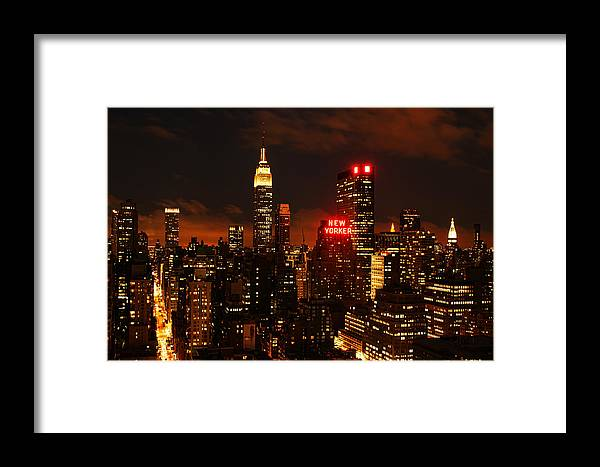 New York Framed Print featuring the photograph Digital Sunset by Andrew Paranavitana