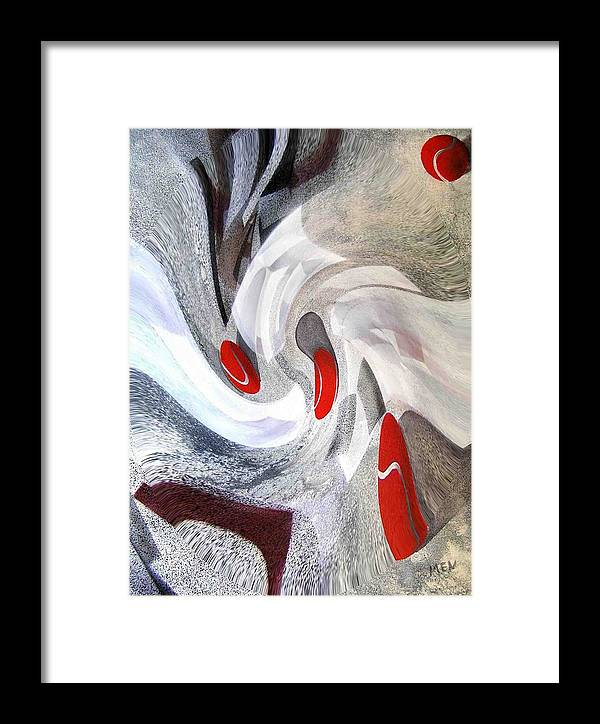 Framed Print featuring the print Digital Transformation Of Red Tenniss Balls by Evguenia Men