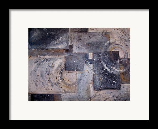 Abstract Framed Print featuring the painting Dimensional Disarray Commissioned Sold by Amanda Sanford