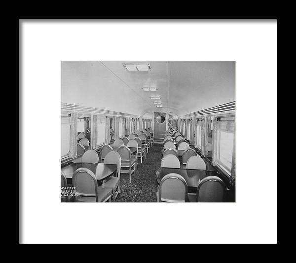 Passenger Cars Framed Print featuring the photograph Dining Car Interior by Chicago and North Western Historical Society