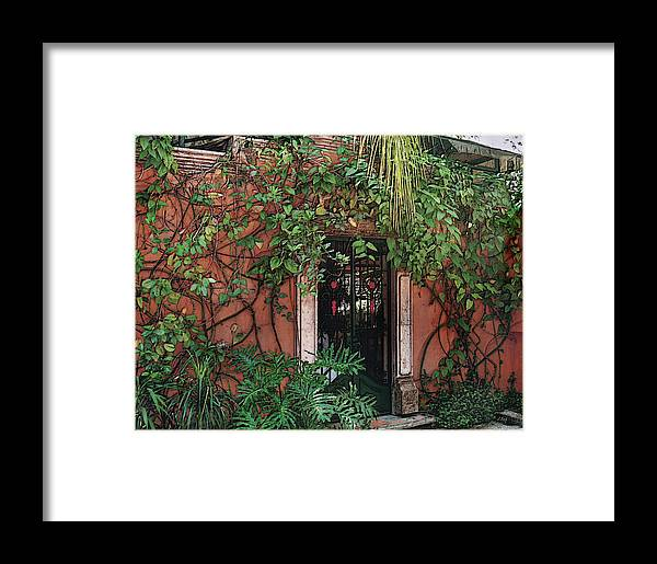Architecture Doors Mexico Mexican Tropical Vegetation Resturarant Textured Framed Print featuring the photograph Dinner Ahead by Gordon Beck