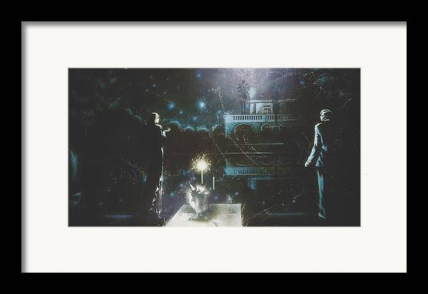 Figures Framed Print featuring the painting Dinner By Candlelight by Andrej Vystropov