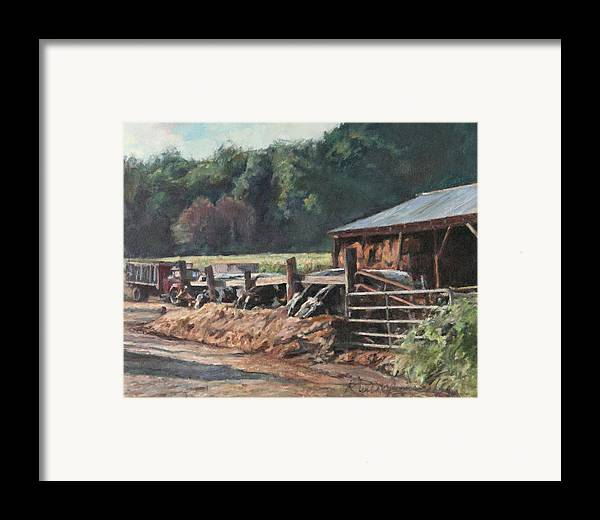 Farm Framed Print featuring the painting Dinner Time by Robert Tutsky