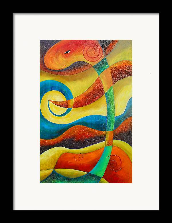Abstract Expressionism Framed Print featuring the painting Dinosaur by Marta Giraldo