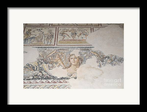 Mona Lisa Framed Print featuring the photograph Dionysus Mosaic Mona Lisa Of The Galilee by Ilan Rosen