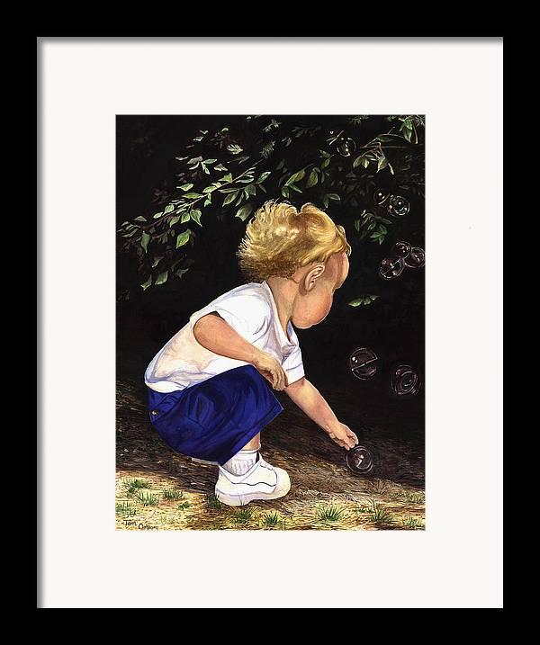 Portrait Framed Print featuring the painting Discovering Bubbles by Terri Meyer
