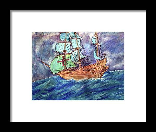 Seascape Framed Print featuring the painting Discovery by Marco Morales