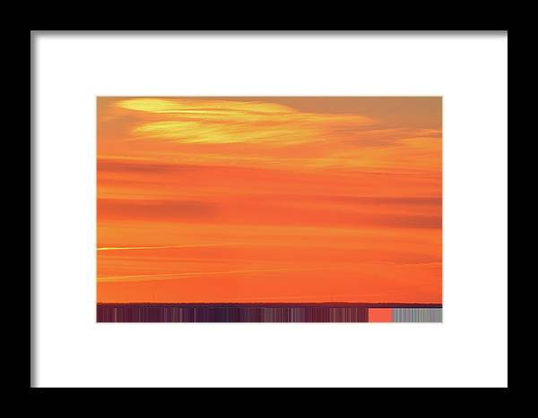 Abstract Framed Print featuring the digital art Distant Cell Towers At Sunrise Two by Lyle Crump