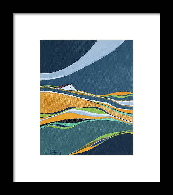 Abstract Framed Print featuring the painting Distant House by Aniko Hencz