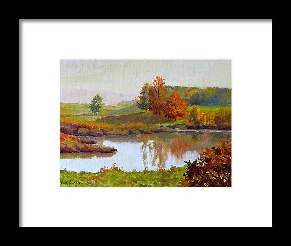 Landscape Framed Print featuring the painting Distant Maples by Keith Burgess