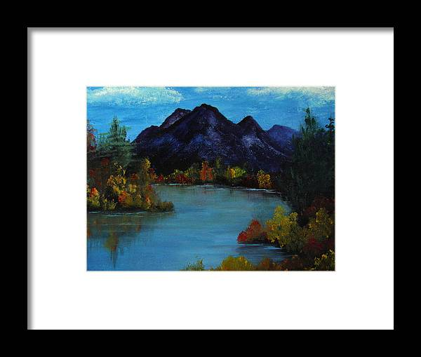 Mountain Framed Print featuring the painting Distant Mountain View by Rhonda Myers