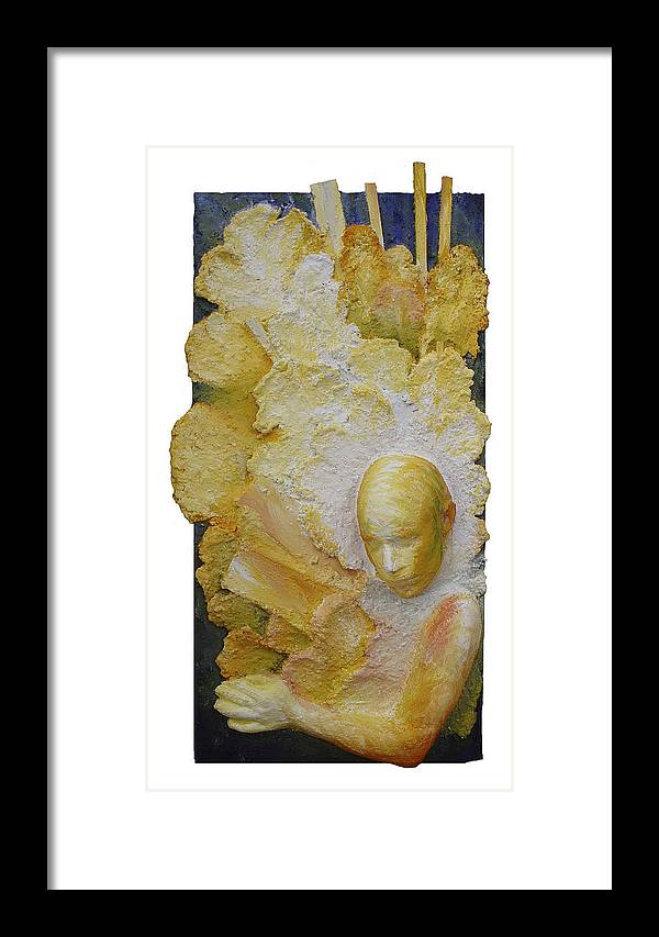Rosemary Framed Print featuring the painting Distant Sharing I - Sent by Rosemary Wessel