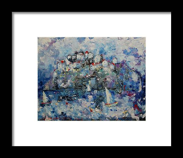 Framed Print featuring the painting Distant Town by Sari Haapaniemi