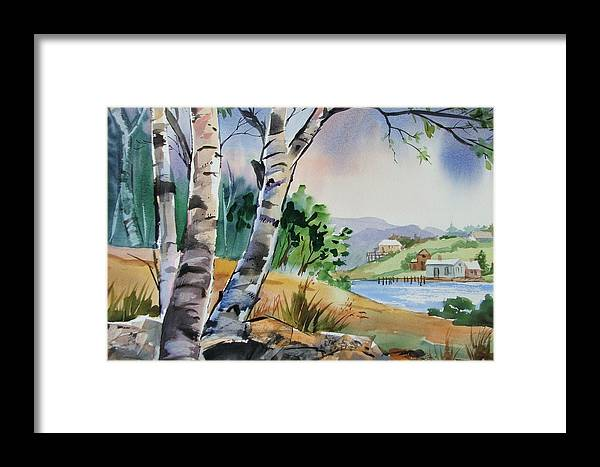 Birch Trees Framed Print featuring the painting Distant View by Dianna Willman