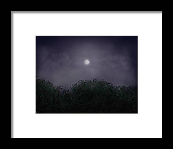 Night Framed Print featuring the painting Distant World by Steven Powers SMP