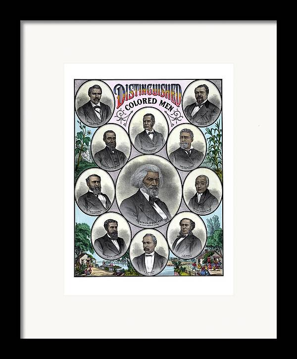 Black History Framed Print featuring the painting Distinguished Colored Men by War Is Hell Store
