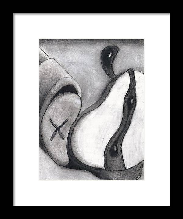Charcoal Framed Print featuring the drawing Distorted Series 4 by Dan Fluet