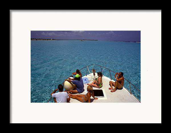 Turquoise Framed Print featuring the photograph Diveboat At Little Cayman by Carl Purcell