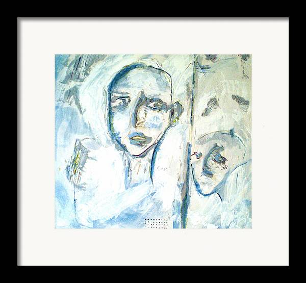 Portraits Framed Print featuring the painting Divided by Kime Einhorn