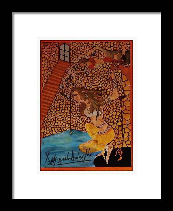 Landscape Framed Print featuring the painting Divine Bath by Rajnish Awasthi